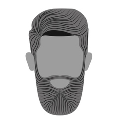 Monochrome man head with beard without a face vector