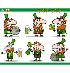 St patrick day themes set cartoon vector
