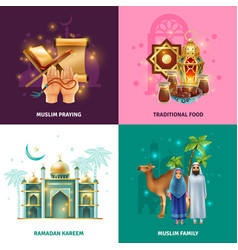 Ramadan traditions concept 4 icons square vector