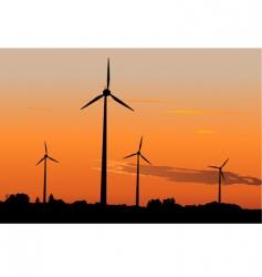 wind generators in sunrise vector image