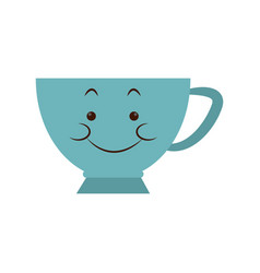 Kawaii blue coffee cup porcelain cartoon vector