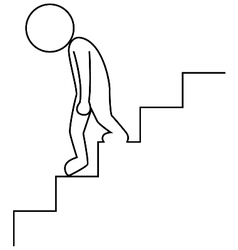 Sad businessman walking downstairs vector