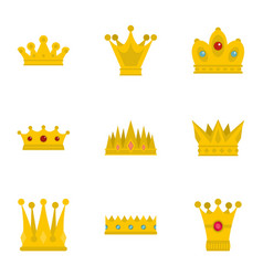 Majestic crown icon set flat style vector