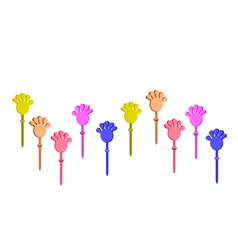 Set of plastic hand clap toys on white background vector