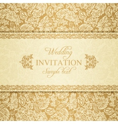 Baroque wedding invitation gold vector