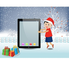 Merry christmas with happy kids and tablet vector