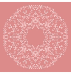 Round lacy pattern on pink background vector