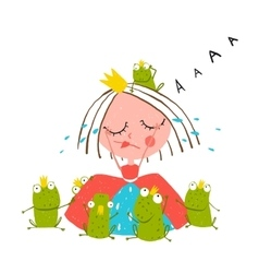 Princess crying and many prince frogs colored vector