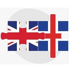 United kingdom and iceland flags vector