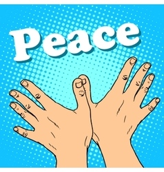 Hand gesture dove of peace vector