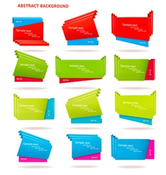 Collection of colorful origami paper banners vector