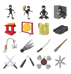 Ninja cartoon icons set vector