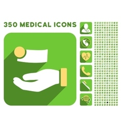 Money payment icon and medical longshadow icon set vector