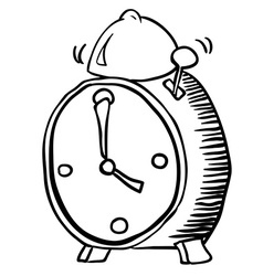 Simple black and white alarm clock vector