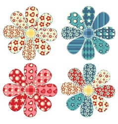 Set of four quilt flower vector