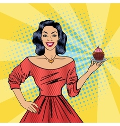 Beautiful Woman Holding a Plate with Cake vector image