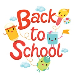 Back To School Letters With Education Characters vector image vector image