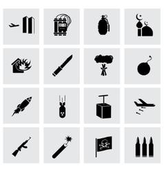 black terrorism icons set vector image