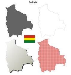 Bolivia outline map set vector