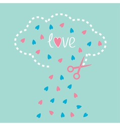 Cloud with hearts inside and scissors Love card vector image vector image