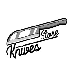 Color vintage knives store emblem vector