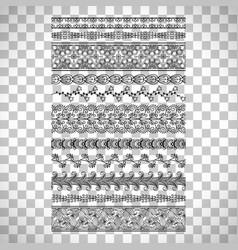 Doodle floral borders set vector
