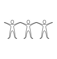 Figure people with hands up icon vector