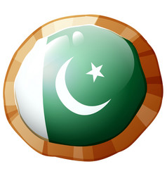 Flag of pakistan on round frame vector