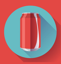 flat cola can soda can cola vector image