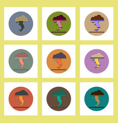Flat icons set of tornado concept on colorful vector