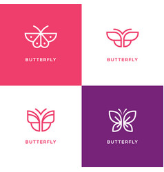 four mono line butterfly logo vector image