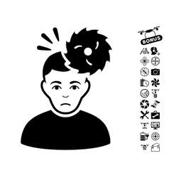Headache icon with air drone tools bonus vector