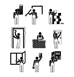 Icons home repairs vector