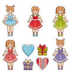 Little ballerina cartoon style baby doll vector