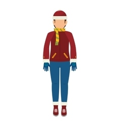 man cartoon winter clothes vector image
