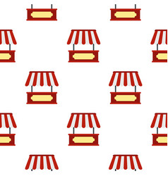 Market stall with red and white awning pattern vector