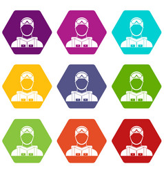 Military paratrooper icon set color hexahedron vector