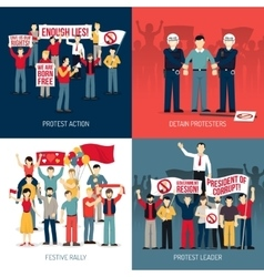 People at demonstration concept vector