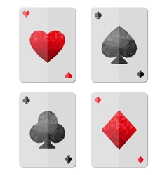 Playing cards in modern triangle style vector image