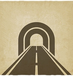 Road through tunnel old background vector