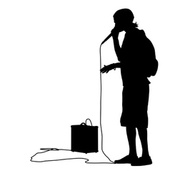 Silhouette of the guy beatbox with a microphone vector image vector image
