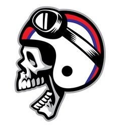 Skull wearing old style of motorcycle helmet vector