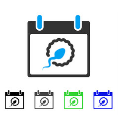Sperm insemination calendar day flat icon vector