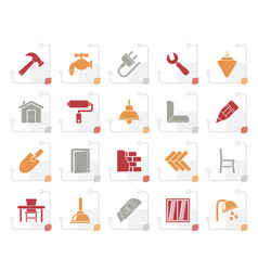 stylized building and home renovation icons vector image