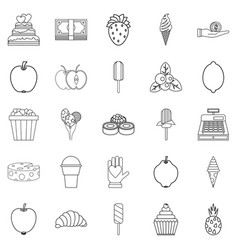 Sugar icons set outline style vector