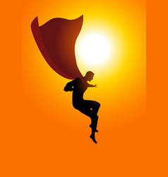 Superhero flying at sunrise vector