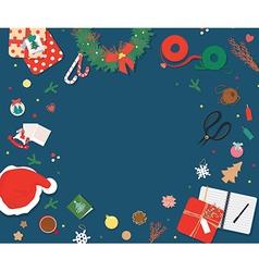 Top view Christmas decoration copyspace vector image vector image