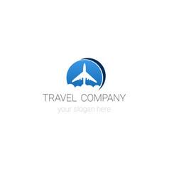 travel company logo template tour agency emblem vector image