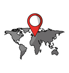World map with pin location box vector