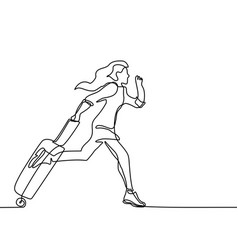 young woman running with a suitcase vector image